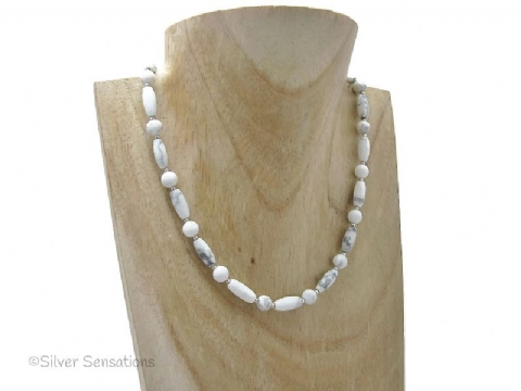 White & Pastel Grey Howlite Beaded Sterling Silver Necklace